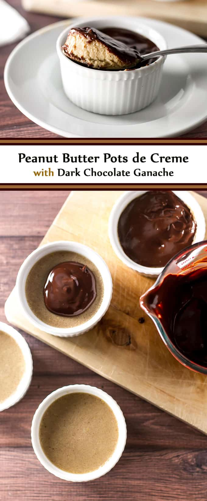 A creamy peanut butter custard topped with a rich chocolate ganache - these restaurant inspired peanut butter pots de creme are to die for! | girlgonegourmet.com