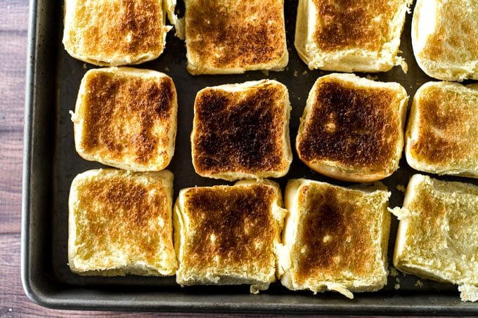 overhead photo of toasted slider rolls