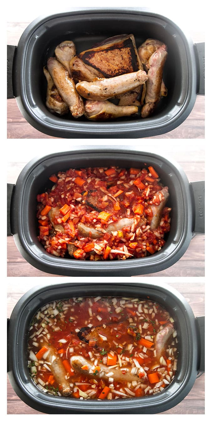 photo collage showing the steps for adding ingredients to slow cooker
