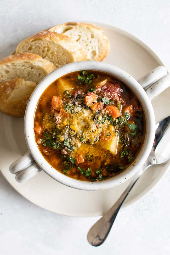 overhead photo of a bowl of minestrone
