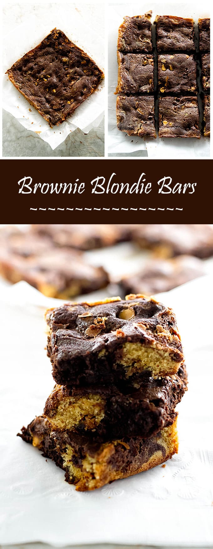 Why choose when you can have both? These brownie blondie bars are the perfect treat! | girlgonegourmet.com