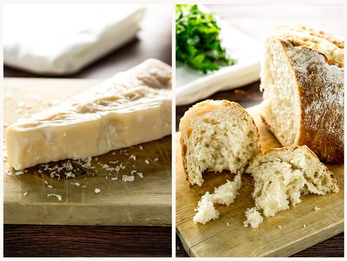 parmesan cheese and bread on a cutting board