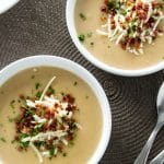 Creamy Potato Soup with Crispy Pancetta | girlgonegourmet.com