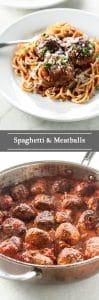 Spaghetti and meatballs photo collage