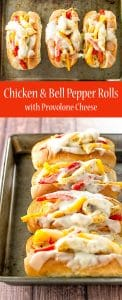 Chicken and peppers stuffed into soft rolls and topped with provolone cheese   girlgonegourmet.com