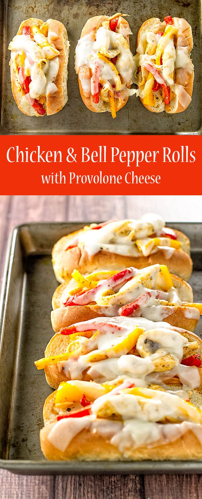 Chicken and peppers stuffed into soft rolls and topped with provolone cheese | girlgonegourmet.com