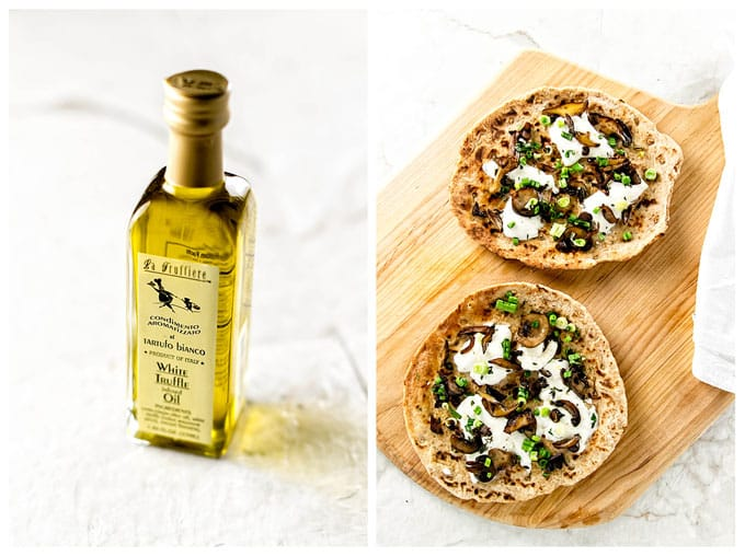 photo collage of truffle oil and flatbread pizzas