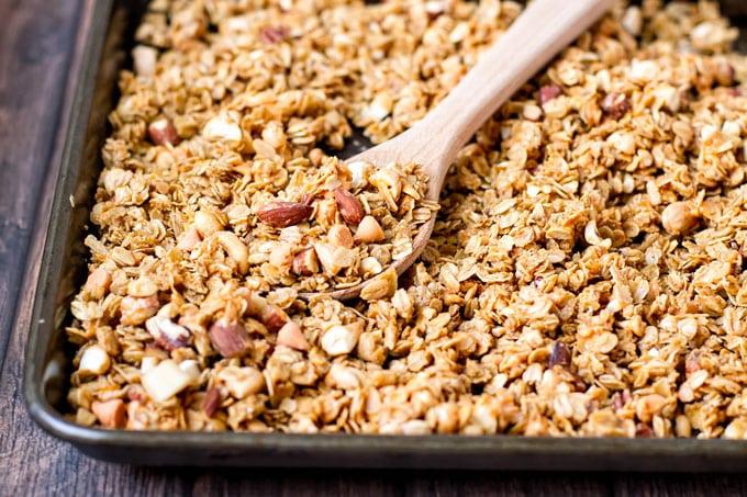 butterscotch granola on a baking sheet