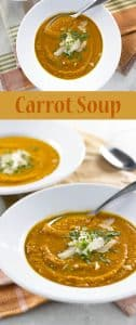 A simple carrot soup with just a hint of cilantro and fresh lime | girlgonegourmet.com