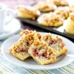 Strawberry Swirl Muffins with a Crunch Almond Topping | girlgonegourmet.com