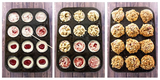 How to prepare the strawberry swirl muffins