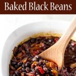 baked black beans photo collage