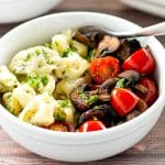 Creamy Pesto Tortellini with Roasted Mushrooms and Tomatoes | girlgonegourmet.com