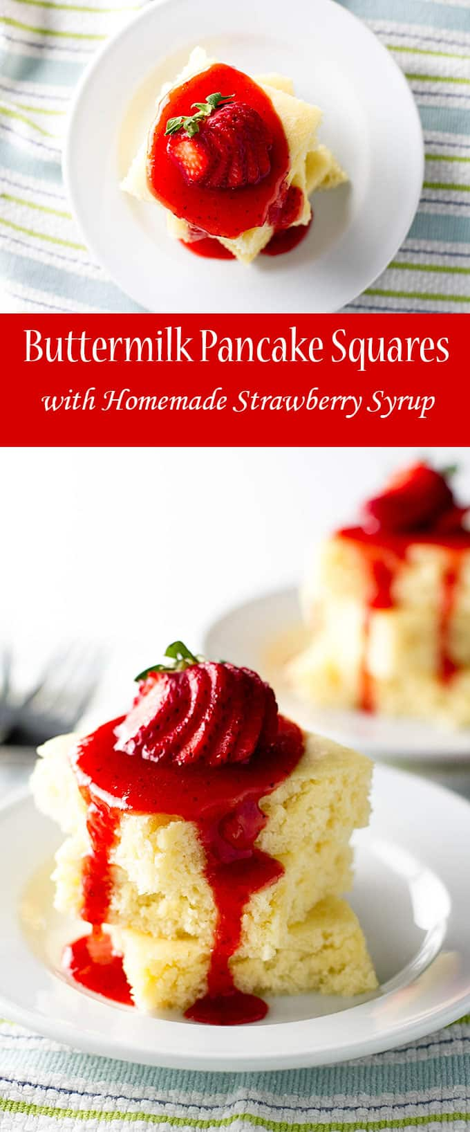 Take a break from pancake flipping at the stovetop and make these easy buttermilk pancake squares in the oven! Topped with a homemade strawberry syrup | Want more breakfast ideas? https://www.pinterest.com/april7116/breaking-the-fast/