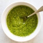 overhead photo of a bowl of pesto