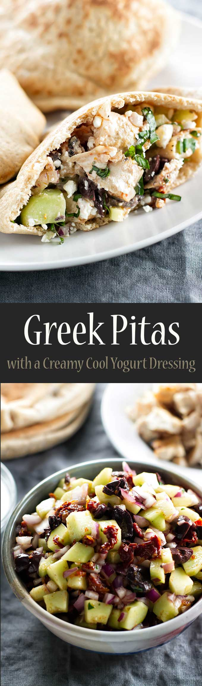 Greek pitas with chicken, sundried tomatoes, olives, and creamy cool yogurt dressing | girlgonegourmet.com