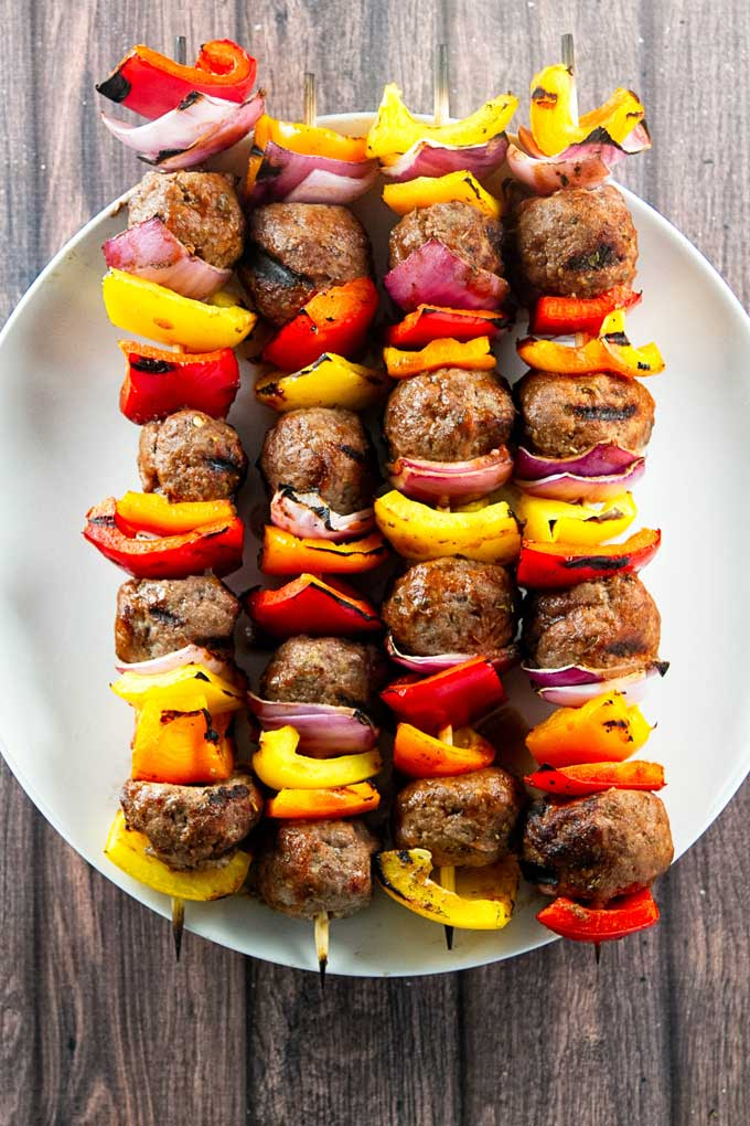 Overhead shot of Italian Beef skewers