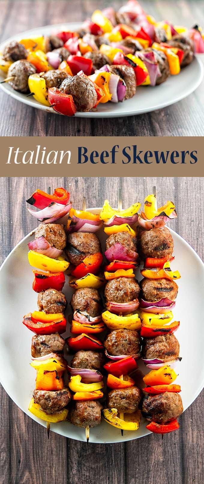 Italian beef skewers with grilled vegetables and tender juicy meatballs | girlgonegourmet.com