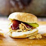 slow cooker shredded BBQ chicken sandwiches