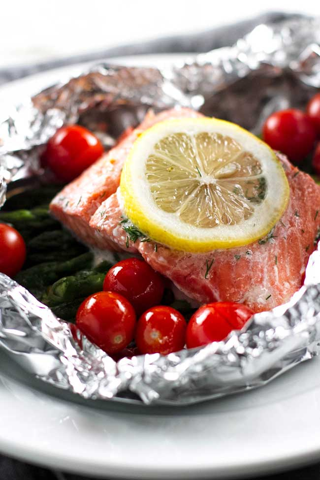 close up photo of Grilled salmon packets