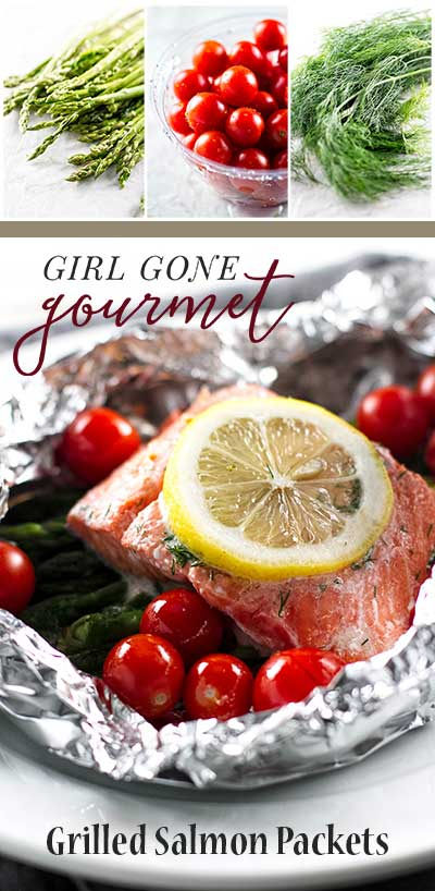 Quick and easy grilled salmon packets with asparagus and tomatoes ...