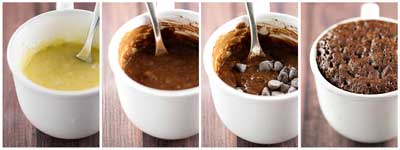 hot to make molten chocolate mug cake step by step process