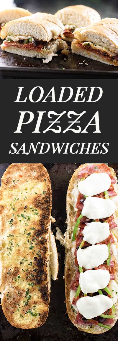 Loaded pizza sandwiches for four with all the classic toppings. | girlgonegourmet.com