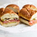 photo of loaded pizza sandwiches