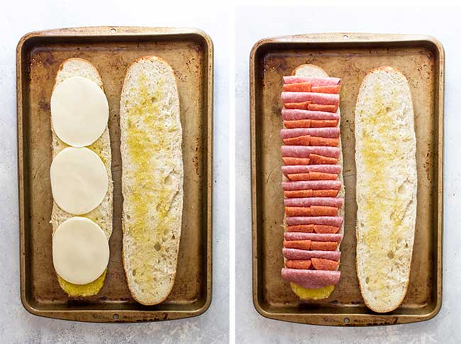 step by step photo showing how to place the cheese, pepperoni, and salami on the bread