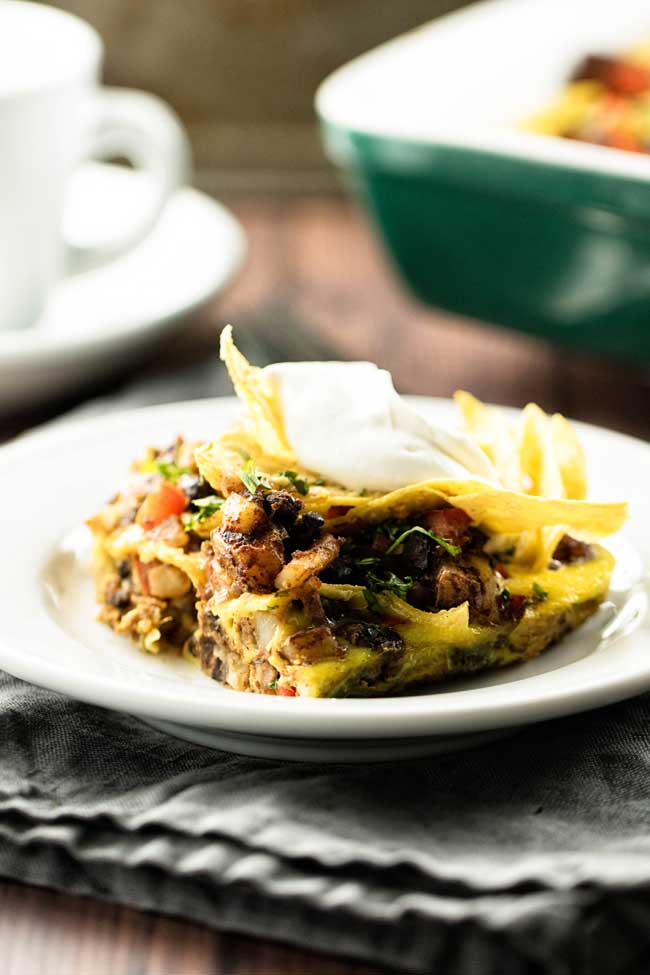 tex mex breakfast bake slice