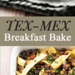 Tex-Mex breakfast bake with black beans, red bell pepper, onion, eggs, and corn tortilla strips/ Make it the night before and bake it off in the morning! | girlgonegourmet.com