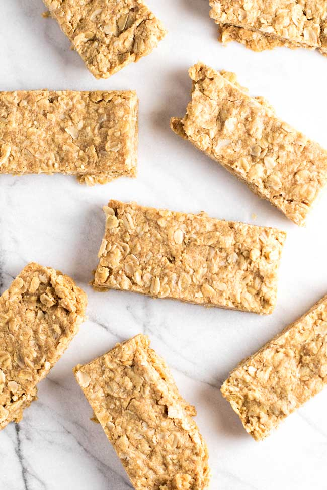 overhead photo of peanut butter oatmeal bars
