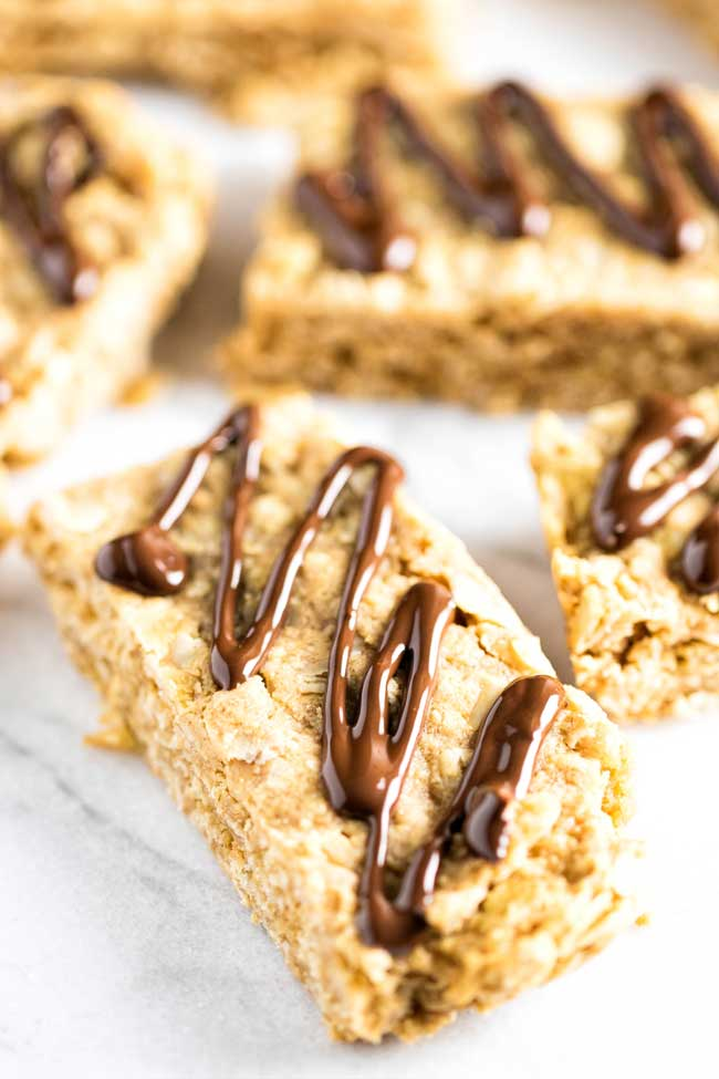 close-up photo of a peanut butter oatmeal bar with chocolate