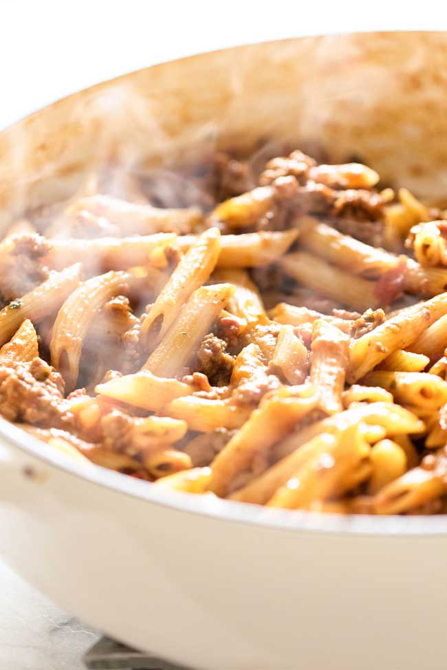 close-up photo of one-pan beef penne