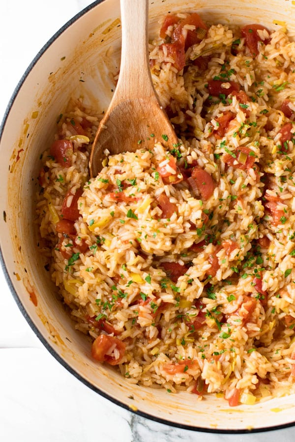 overhead photo of tomato leek rice