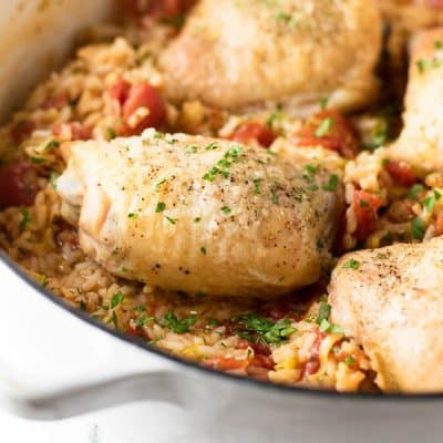 Tomato Leek Rice with Roasted Chicken