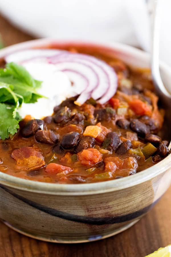 one bowl of black bean chili