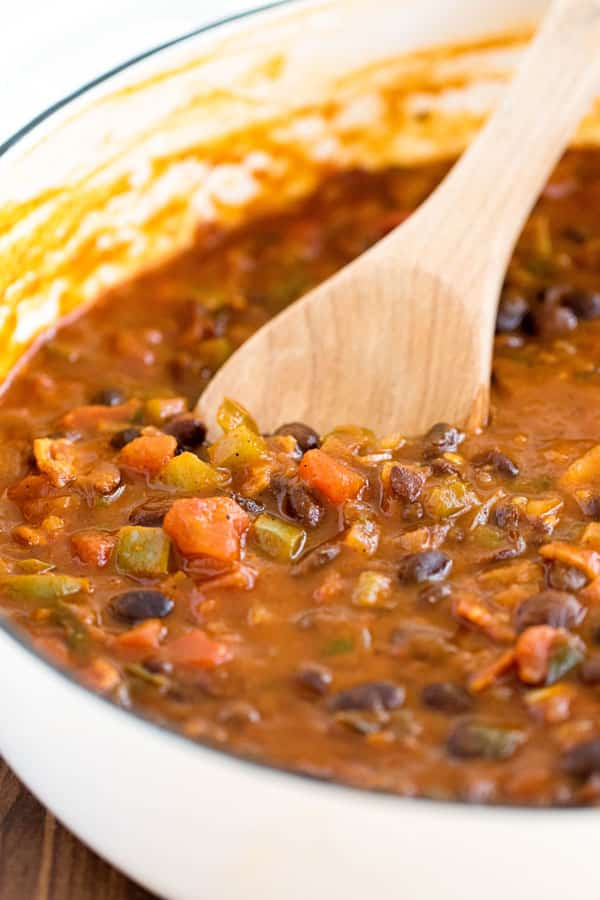 black bean chili in a white pan