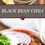 Black bean chili with bacon, bell pepper, tomatoes and green chile | girlgonegourmet.com
