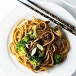 30-Minute Ginger Beef Noodles | girlgonegourmet.com