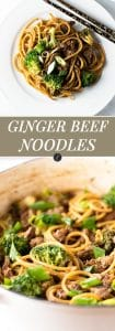 ginger beef noodles photo collage