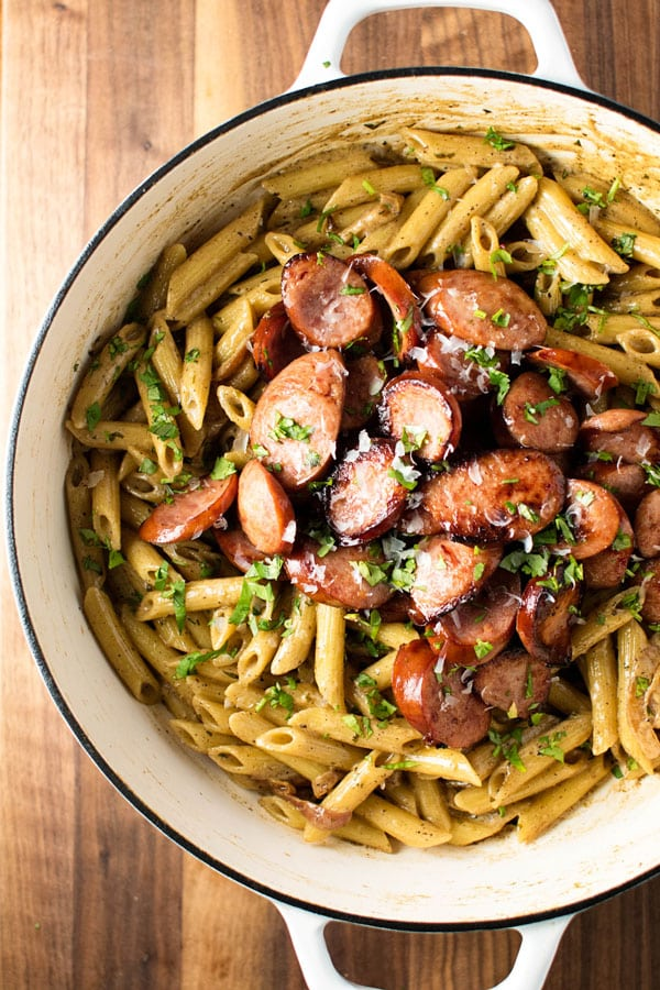 overhead photo of Kielbasa with Creamy Mustard Pasta