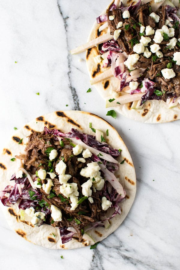Short Rib Tacos with Radicchio Apple Slaw | girlgonegourmet.com