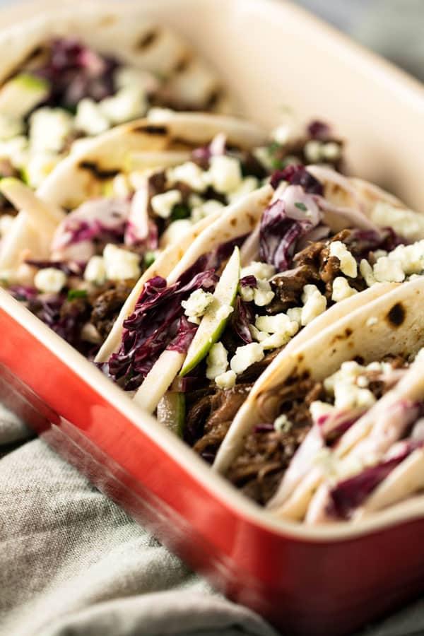 close-up photo of short rib tacos