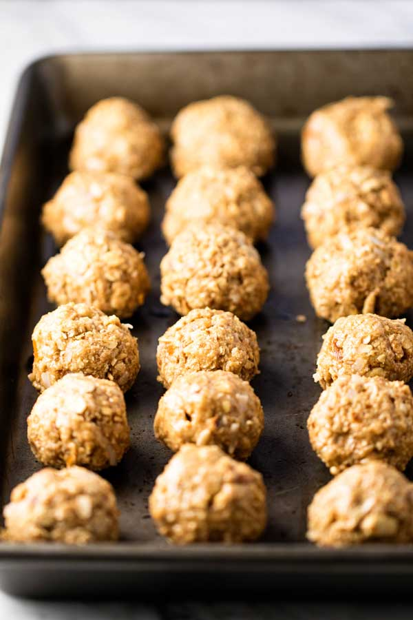 Salty Sweet Oatmeal Bites on a baking sheet