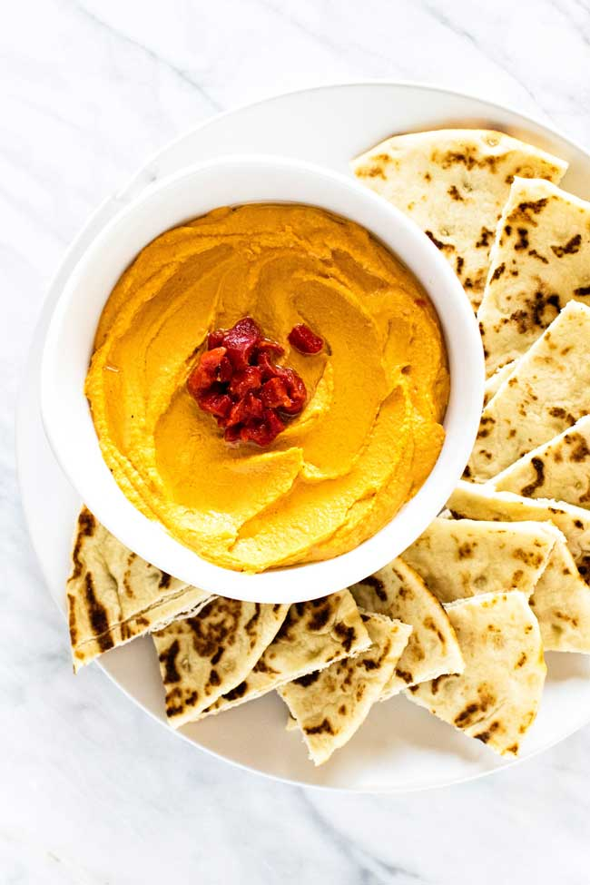 Roasted red pepper hummus and pita