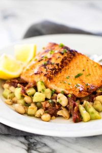 Pan-Seared Salmon with White Bean Salad | girlgonegourmet.com