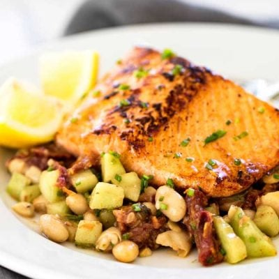 Pan-Seared Salmon with White Bean Salad
