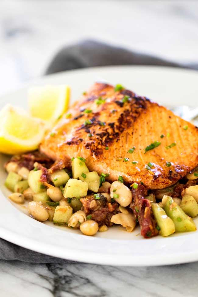 Pan-Seared Salmon with White Bean Salad   girlgonegourmet.com
