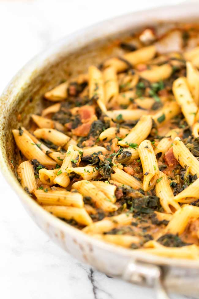 Spinach and Pancetta Pasta in a skillet